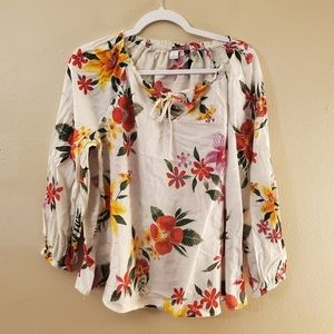 Old Navy White Floral Long Sleeve Blouse Medium